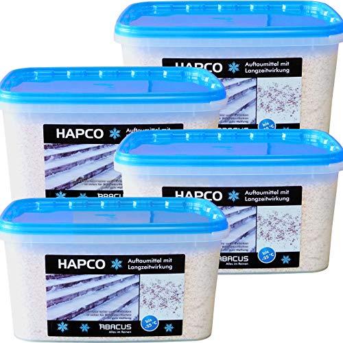 HAPCO 4er Set (4 x 5 kg) - Auftaumittel mit Langzeitwirkung - Schnee- und Eis weg - Auftaugranulat - Calciumchlorid Streugut Streusalz Auftaugranulat