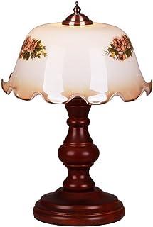 Baibao Lámpara de Mesa clásica Dormitorio Oficina de Estudio de Noche de luz LED Retro Creativo de la lámpara de Escritorio Sólido Sombra Madera Vidrio Iluminación Decorativa E27