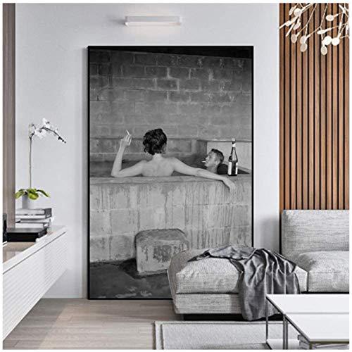 SHKHJBH Actores de Lienzo de impresión HD bañándose Bebiendo Vino Carteles e Impresiones imágenes artísticas de Pared para Sala de Estar Imagen Decorativa 20x30cm sin Marco