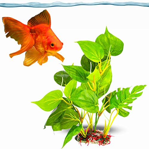 SunGrow Plastic Leaf Plant for Goldfish, 10 Inches Tall, Ultra-Realistic Fin-Friendly Artificial Plant for Hide-and-Seek and Beauty, Perfect in Any Aquarium, Hiding Spot for Fish, Reptiles, Amphibians