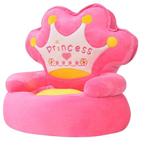 vidaXL Silla de Peluche para Niños Princesa Superficie Antideslizante Color Rosa