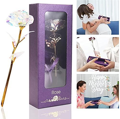 Rosa Stabilizzata Mamma,Oro 24 K Rose regalo per la festa della mamma y Rosa Stabilizzata Regali per Donna,regalo per fidanzata/mamma/nonna/anniversario di matrimonio/compleanno/Natale