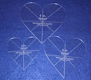 Heart Template 3 Piece Set. 4 Inch,5 Inch,6 Inch - Clear 1/8 Inch Thick w/guidelines