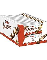 kinder bueno Thekendisplay - 30 Packungen mit je 2 Einzelriegeln, Waffel-Riegel mit feiner Milchschokolade, zarter Knusperhülle und cremiger Haselnuss-Füllung