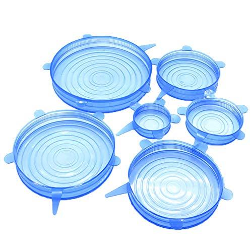 Herbruikbare elastische siliconen dopjes, duurzaam, uitbreidbaar, ideaal voor het vers houden van gerechten en dranken, vaatwasser en diepvriezer, 6 capsules - blauw