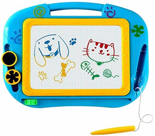 EEDAN Magna Doodle tablero de dibujo magnético para niños – Bloc de escritura borrable colorido, bloc de notas educativas con 2 formas de imanes, regalo para niñas y niños, tamaño de viaje (azul), Azul, Large