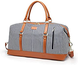 Weekender Bag Women Travel Overnight Duffel Bag Large Canvas Carry On Tote Holdall Bag with Shoulder Strap (Blue Stripe) (Blue)