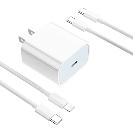 20W USB C Fast Charger,Wall Charger Plug with 2 Cables,Fast Power Adapter Compatible with iPhone 12/11/Pro Max/XS/XR/X/8/Plus,iPad Pro/Air/Mini 4/3,Samsung Galaxy/Note/Edge,and More