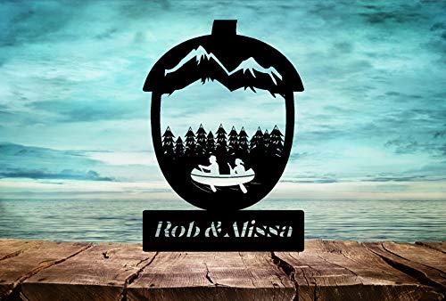 Ad4ssdu4 Canoers oder Kayakers Cake Topper Bergszene in Eichel Perfekt für das Abenteuer Waldland beginnt jetzt mit Ihrem Namen oder Ausdruck