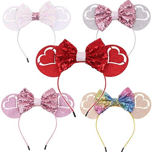 Lot de 5 bandeaux d'oreille Mickey Minnie Mouse pour enfants et adultes