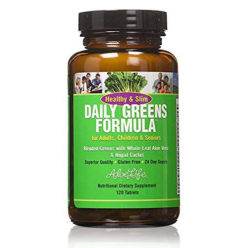Aloe Life - Healthy and Slim Daily Greens Tablets and Powders, Gluten Free, Increases Daily Veggies, Energizing and Detoxifying, plus Fiber (120 Tablets)