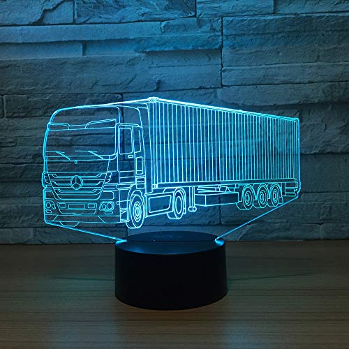 3D LED lampe de nuit Lampes de bureau Colorful Un Camion Forme Magical Illusion Lampe 7 Couleurs Changent USB Powered,Télécommande et Tactile