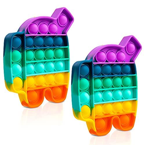 iBaste 2-Pack - Push Bubble Fidget Sensory Toy, Fidget Toys for Kids Adults, Bubble Popper Fidget Toy Stress Anxiety Relief Toys, Pop Toys - Rainbow