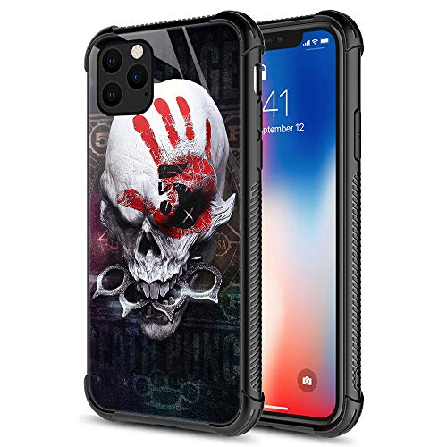 iPhone 11 Pro Max Case,Red Palm and Skull iPhone 11 Pro Max Cases for Men Boys,9H Tempered Glass Graphic Design Shockproof Anti-Scratch Tempered Glass Case for Apple iPhone 11 Pro Max Red Palm Skull