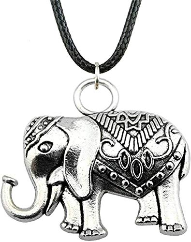 Yiffshunl Collar de Cadena de Cuero con Colgante de Elefante de Doble Cara 28X31Mm Color Bronce Antiguo para Mujer Collar de Regalo Collar de Regalo