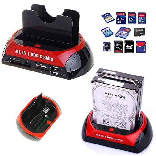 takestop® Dock Docking Station md875 J12V Hard Disk 3,5 2,5 SATA IDE 2 HD HDD Box Case USB Host HUB SD TF MS E-SATA XD CF MD