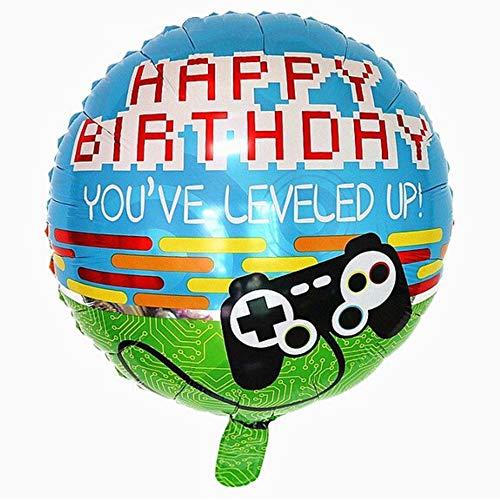 DIWULI, Gamer Happy Birthday Luftballon, Gaming Folien-Ballon, Geburtstagsballon, Gamepad Folienluftballon, Gamer-Ballon Geburtstag, LAN-Party, Junge Kindergeburtstag, Dekoration, You've leveled up!