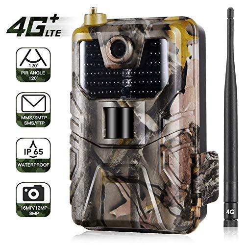 SUNTEKCAM 4G Wildkamera 16MP 1080P mit Infrarot-Nachtsicht bis zu 65 Fuß/20 m IP65 Spray Wasserdicht für Outdoor-Natur, Garten, Haussicherheitsüberwachung HC-900LTE