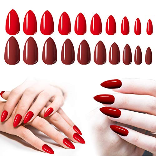 Fake Nails Red, 200PCS Cosics Full Cover Almond Shaped Press on Nails Medium Length, 2IN1 Acrylic False Nails Press On Burgundy & Red Nails Stiletto Shape with Box for Salon Women Nail Art DIY