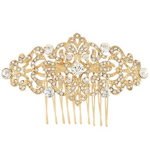 EVER FAITH Cristal Austríaco Art Deco Estilo Peineta Joyería para Novia Claro Tono Dorado