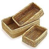 IGNPION Juego de 3 cestas rectangulares de ratán tejidas para servir pan,...