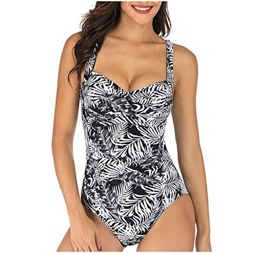 GOKOMO Frauen Plus Größe Takini hohe Taille RuffleSwimwear Badeanzug-weibliches Retro Bikini-Set(G,Large)