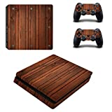 LLC Integral - Wood Style Decal Cover for Sony Playstation 4 Slim PS4 Console Gamepad Pack Sticker + 2 Skins Stickers for dualshock 4 Controller