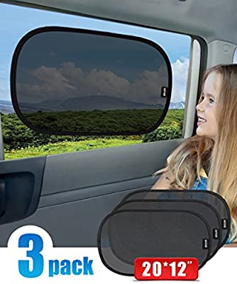 """ANTOER Car Sun Shade + Travel Pouch, Large Sizes With 2 Ears Block Out 99% UV Rays Heat & Snow Car SunShade Keep Automobile Cool Easy to use 63""""x31"""""""