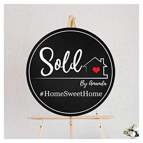 """Real Estate Sold By Sign, Circle Home Sweet Home Realtor Marketing Poster, Real Estate Gifts for Agents, Testimonial Props, Rustic banner, Personalized Real Estate House photo prop - 24"""" and 36"""""""