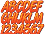 Stiffie Whipline Orange Crush/Lava Red Super Sticky 3' Alpha Numeric Registration Identification Numbers Stickers Decals for Sea-Doo Spark, Inflatable Boats, Ribs, Hypalon/PVC, PWC and Boats.