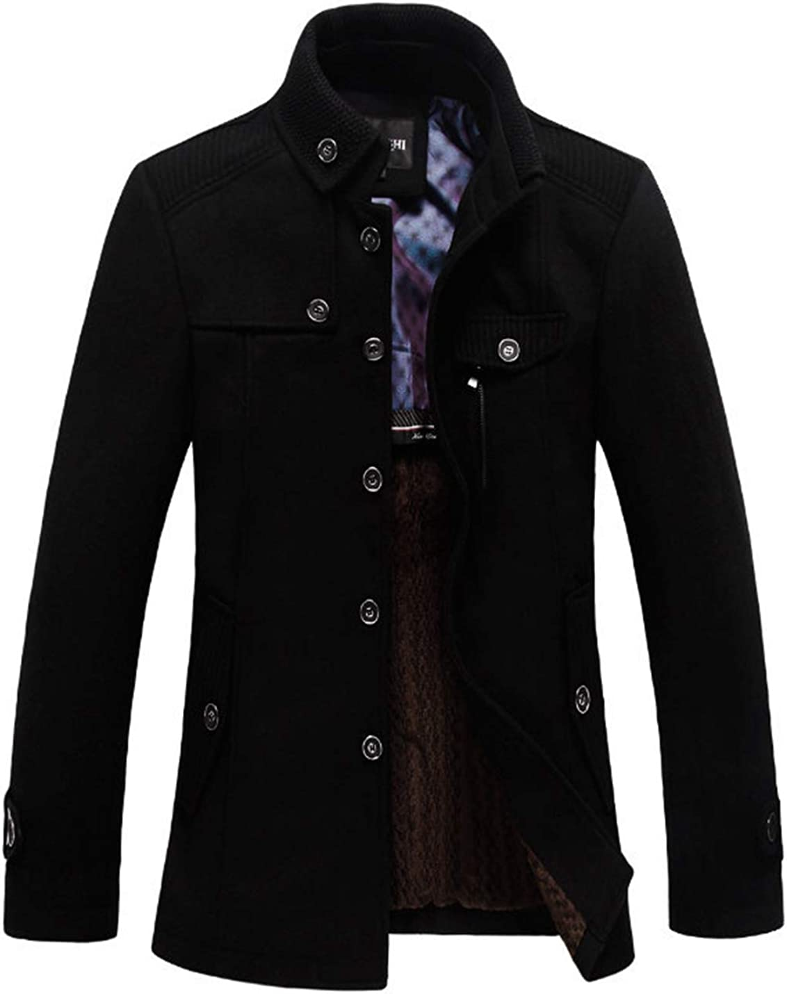 Yimoon Men's Stand Collar Wool Blend Single Breasted Trench Coat Fleece Lined Overcoat
