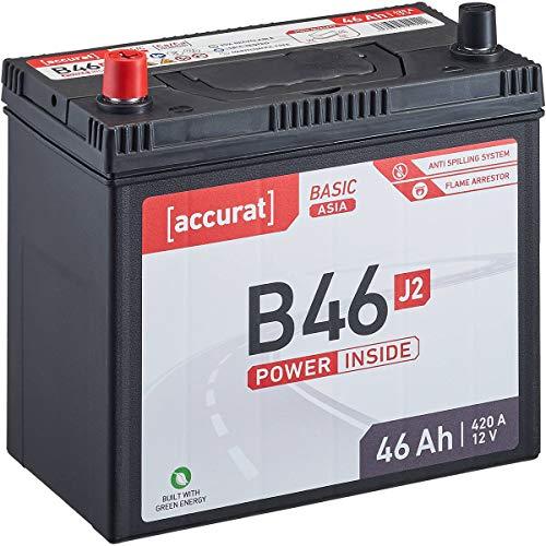 Accurat 12V 46Ah Asia Auto-Batterie Starter wartungsfreier Blei-Säure-Akku Basic-Serie B46 J2 (Pluspol links)