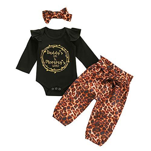 Neugeborenes Baby Langarm Strampler und Leopard Hose und Stirnband, Baby Mädchen Junge Baumwolle Bodysuit und Hosen Set Winter warme Outfits Anzug