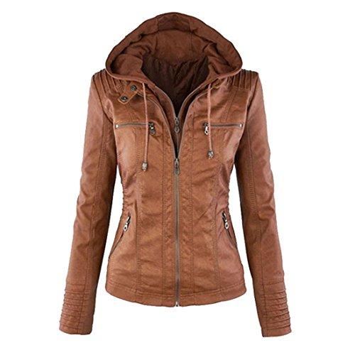 Bonboho Damen Herbst Winter Jacke mit Kapuzen Kunstleder Jacke Motorradjacke Ladies Oberbekleidung S...