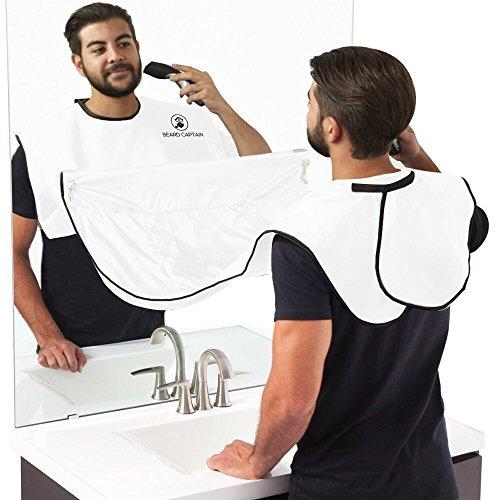 BEARD CAPTAIN Bartschürze für eine saubere Rasur - Schürze Bartlatz zum Haare auffangen - Rasieren mit einem sauberen Waschbecken Mann - Barttuch Rasur Schürze (weiß)