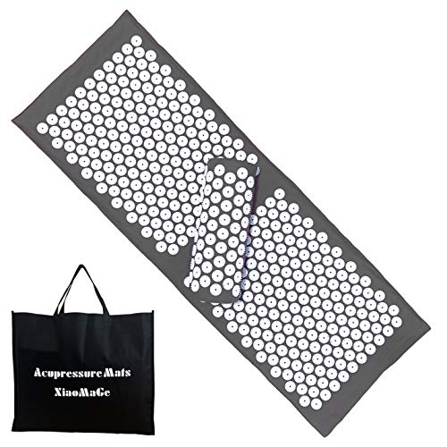 Yoga Acupressure Mat and Pillow Set with Bag  Larger Size 492 X 169 inch Massage Acupuncture Mat  Naturally Relax Back Neck and Feet Muscles  Stress and Pain Relief Gray