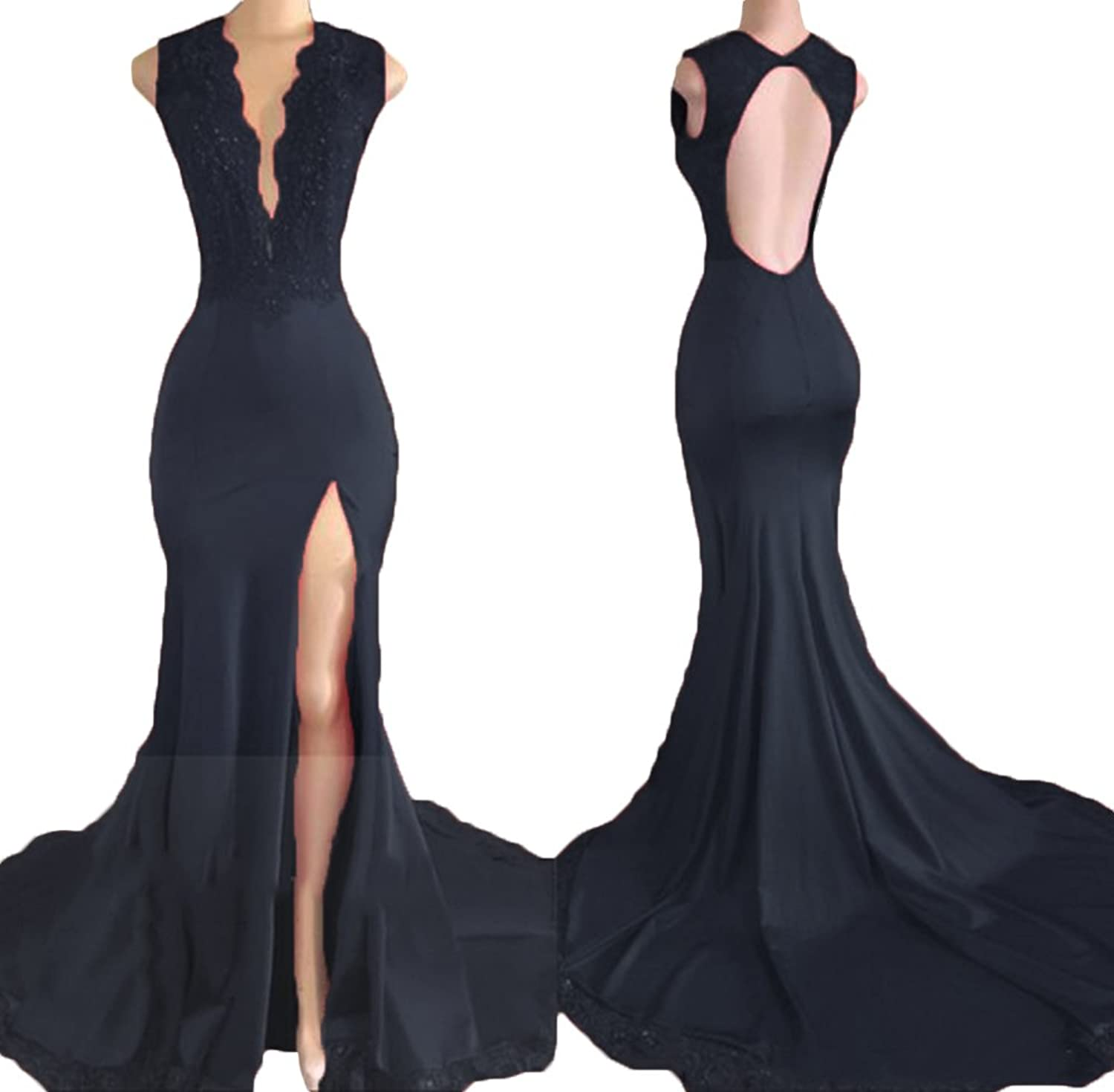 Ri Yun Sexy Backless Deep VNeck Side Slit Mermaid Prom Dress Evening Gowns 2018 for Women with Lace Sequins