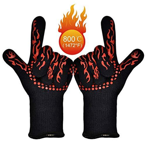 BBQ Grill Handschoenen 1472°F/800° C Extreme Hittebestendig-Hoge-temperatuur Barbecue Grilling Potholders - Oven Siliconen Handschoen Brandwerend voor Roker Bakken - Warmte-geïsoleerde Kookhandschoenen X-Long 1 Paar (Rood)