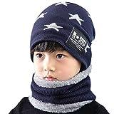 Tuopuda – Juego de bufandas de invierno para niños, gorro de punto cálido, gorro de punto con forro polar, 2 unidades, juego de bufanda de invierno Navy/Star Printing Talla única