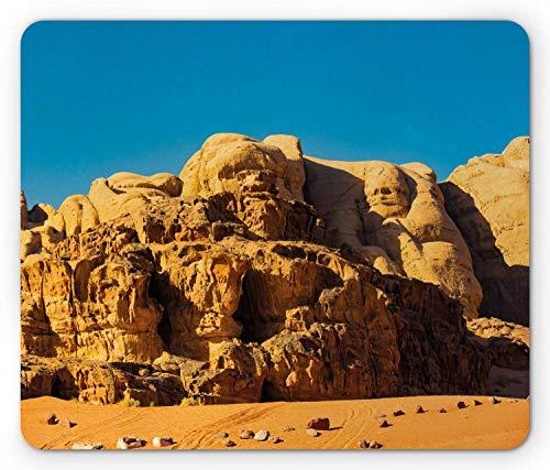 N\A Alfombrilla de ratón Jordan, areniscas históricas Wadi Rum, Famoso Monumento arqueológico Nacional, Alfombrilla Rectangular de Goma Antideslizante, Azul Mostaza estándar