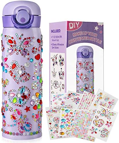 HULASO Gifts for Girls Decorate Your Own Water Bottles with Tons of Rhinestone Glitter Gem Stickers product image
