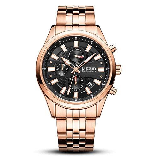 AZPINGPAN Reloj de lujo de lujo alta gama, relojes cuarzo cronógrafo calendario deportivo prueba agua, banda clásica acero inoxidable de acero al aire libre y ocio reloj analógico pulsera reloj de pul