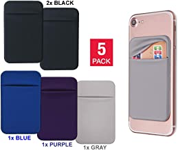 LyPOUCH 5-Pack Stretchy Card Holder/Sleeve for Cell Phones with Double Lid, Made of Lycra with Stick-On 3M Adhesive, Ideal Pocket/Purse/Wallet to Carry Credit Cards & Cash with Your iPhone/Android