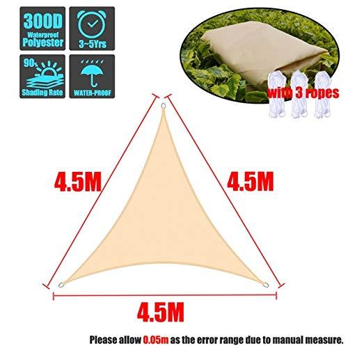 WITHOUT BRAND 1pc Beige 300D Oxford Dreieck Sonnenschutz im Freien Sonneschutz Wasserdichtes Markisen Schutzdach Garten Innenhof Pool Sonnenschutz Garten (Größe : 4.5x4.5x4.5m)