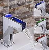 Grifo Automático Led Sensor Grifo Cascada Cobre 3 Cambio De Color Sensor De Lavabo Grifos Mezcladores Para Lavabo Baño