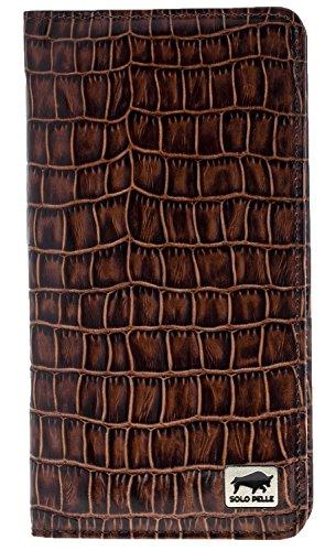 Solo Pelle Universal Wallet iPhone X I 8 Plus I 7 I 8 tas of apparaten tot 5,5 inch reistas I portemonnee van echt leer, Krokodil reliëf bruin (bruin) - 8693061310328