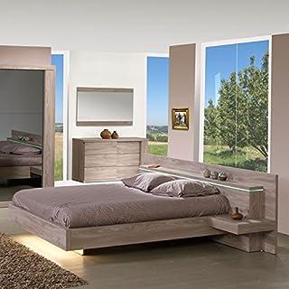 Tousmesmeubles Cadre de lit + Tête de lit à chevets 140 * 190 cm - Toulouse - L 258 x l 220 x H 88 - Neuf