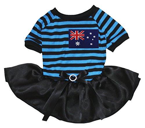 petitebelle Puppy Kleidung Kleid Australien Flagge Blau Schwarz Streifen Top Schwarz Tutu
