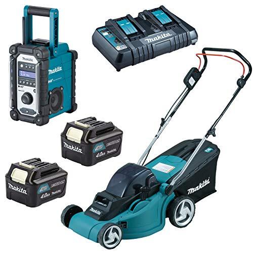 Makita Baustellenradio DMR110 + Rasenmäher DLM380PM2 2x18V 2x 4,0Ah|Lader|Karton