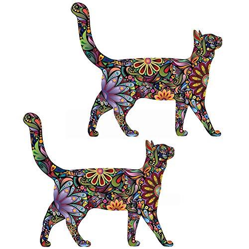 ZYLBL Pegatinas de pared abstractas coloridas con diseño de gato para estudio de yoga y danza de 35 x 31 cm, 2 unidades